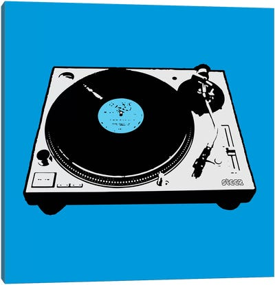 Turntable Blue Poster Canvas Art Print