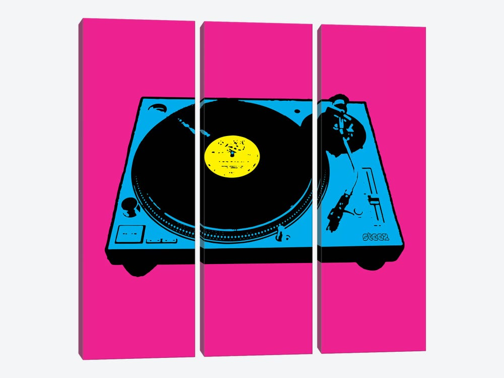 Turntable Pink Poster by Steez 3-piece Canvas Print