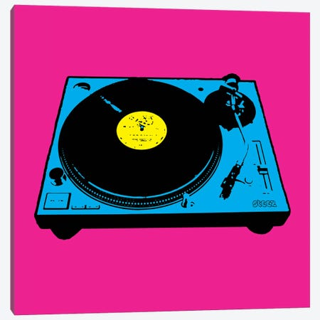 Turntable Pink Poster 3-Piece Canvas #STZ73} by Steez Canvas Wall Art