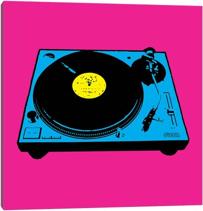Turntable Pink Poster Canvas Art Print