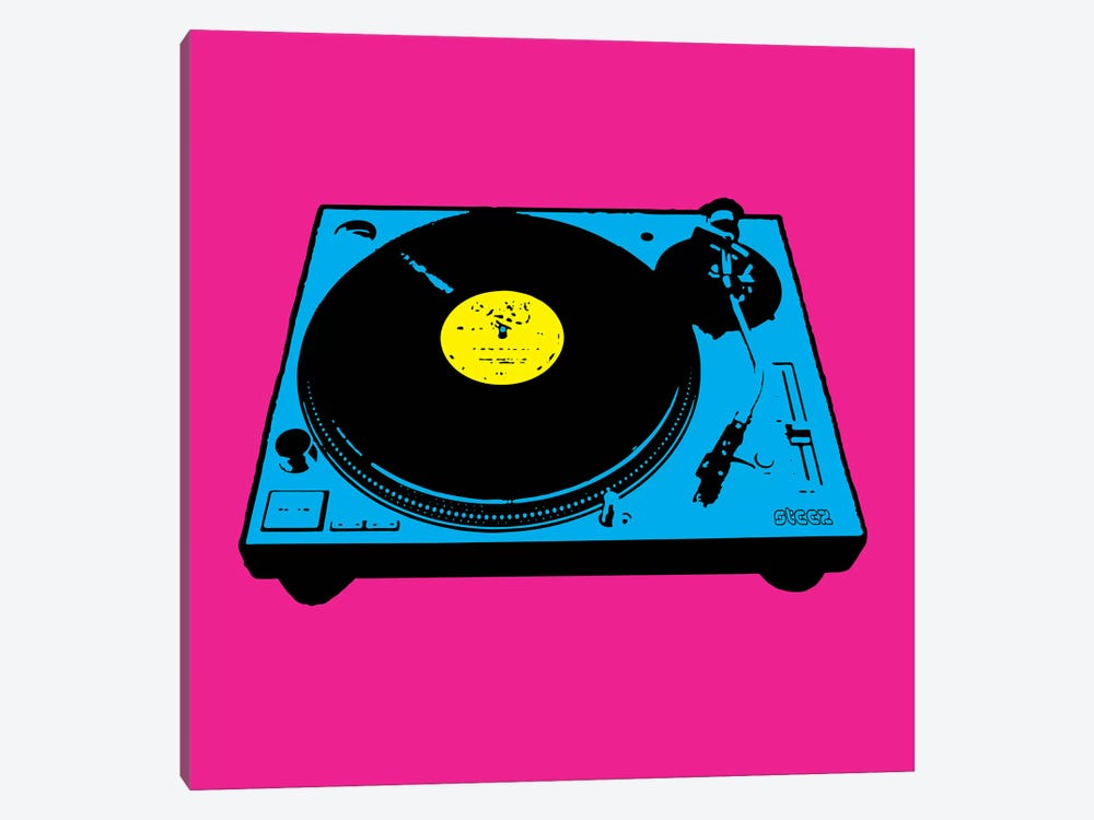Turntable Pink Poster by Steez 1-piece Canvas Art Print