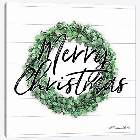 Merry Christmas Boxwood Wreath Canvas Print #SUB28} by Susan Ball Canvas Art