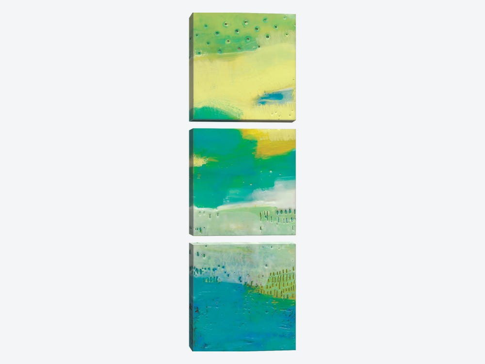 Teal Dot Panels I by Sue Jachimiec 3-piece Canvas Wall Art