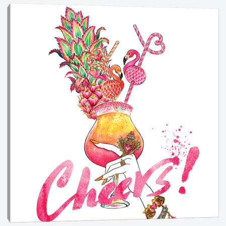Flamingo Cheers Canvas Print #SUN12} by Sunny Gu Canvas Print