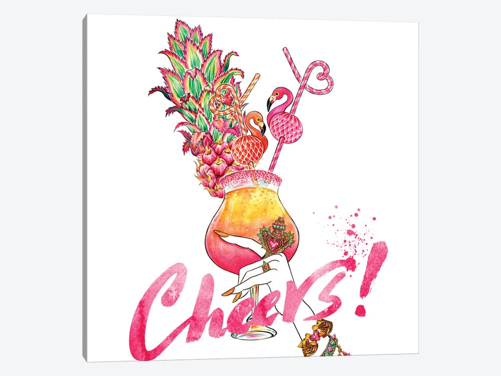 Flamingo Cheers 1-piece Canvas Wall Art