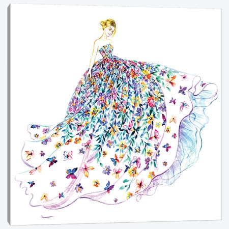 Flower Butterfly Dress 3-Piece Canvas #SUN13} by Sunny Gu Canvas Art Print