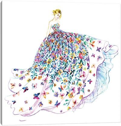 Flower Butterfly Dress Canvas Art Print