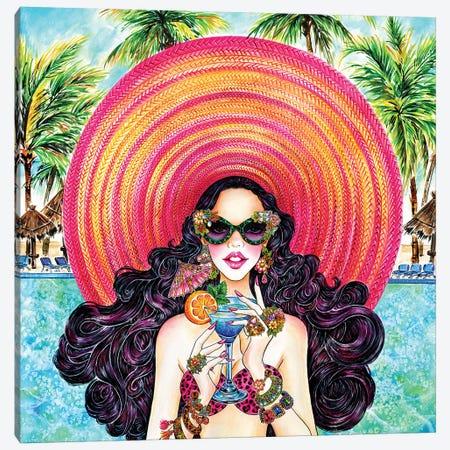 Palm Hat 3-Piece Canvas #SUN29} by Sunny Gu Canvas Art