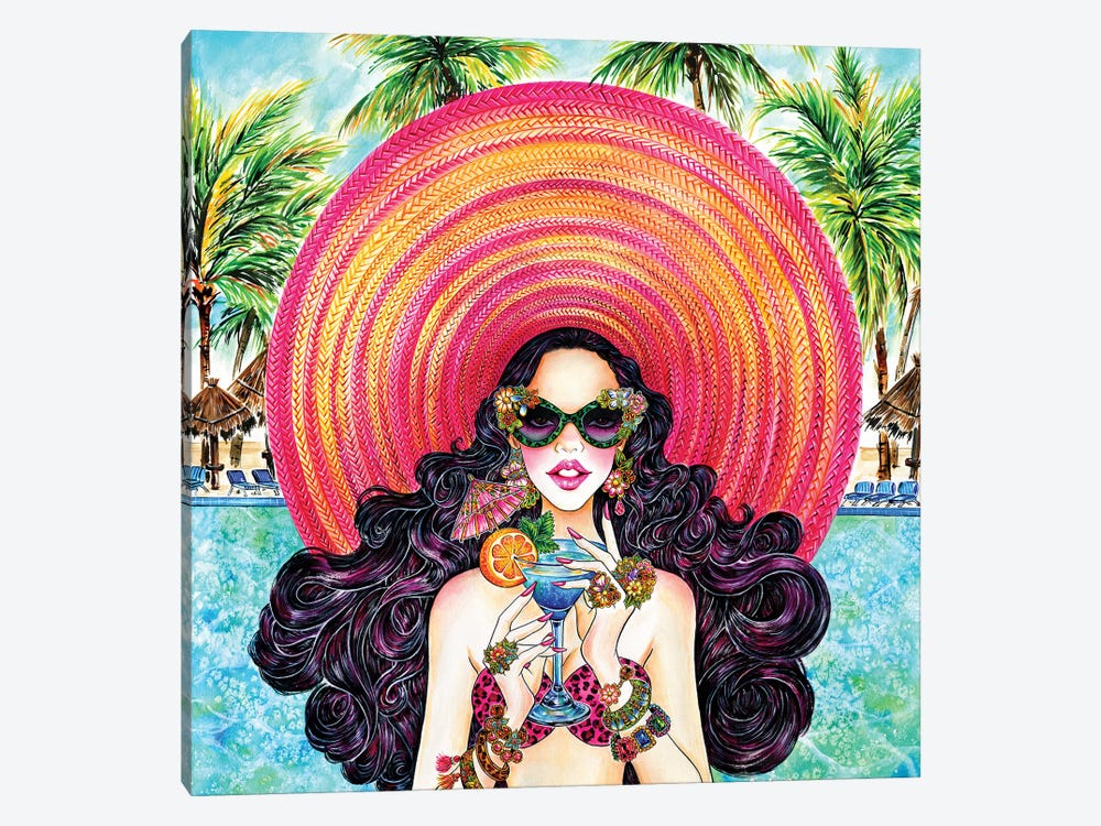 Palm Hat by Sunny Gu 1-piece Canvas Wall Art