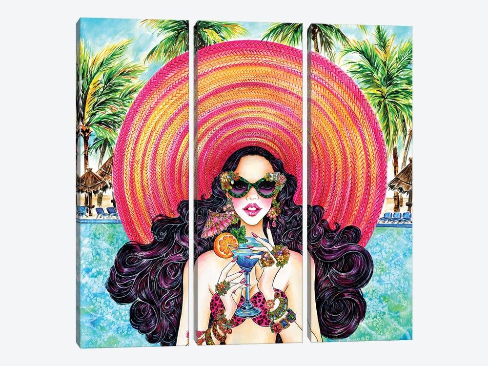Palm Hat by Sunny Gu 3-piece Canvas Art