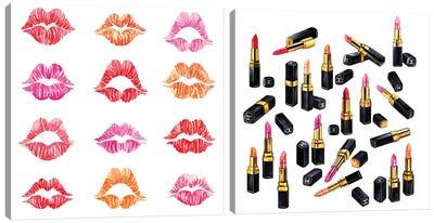 Lipsticks & Kisses Diptych Canvas Art Print