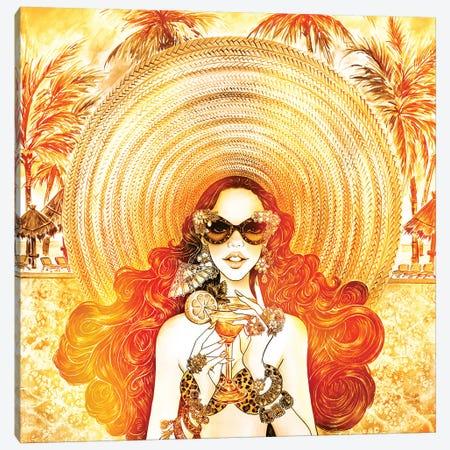 Palm Hat, Color Overlay Canvas Print #SUN30} by Sunny Gu Art Print