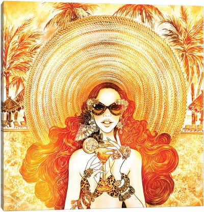 Palm Hat, Color Overlay Canvas Art Print