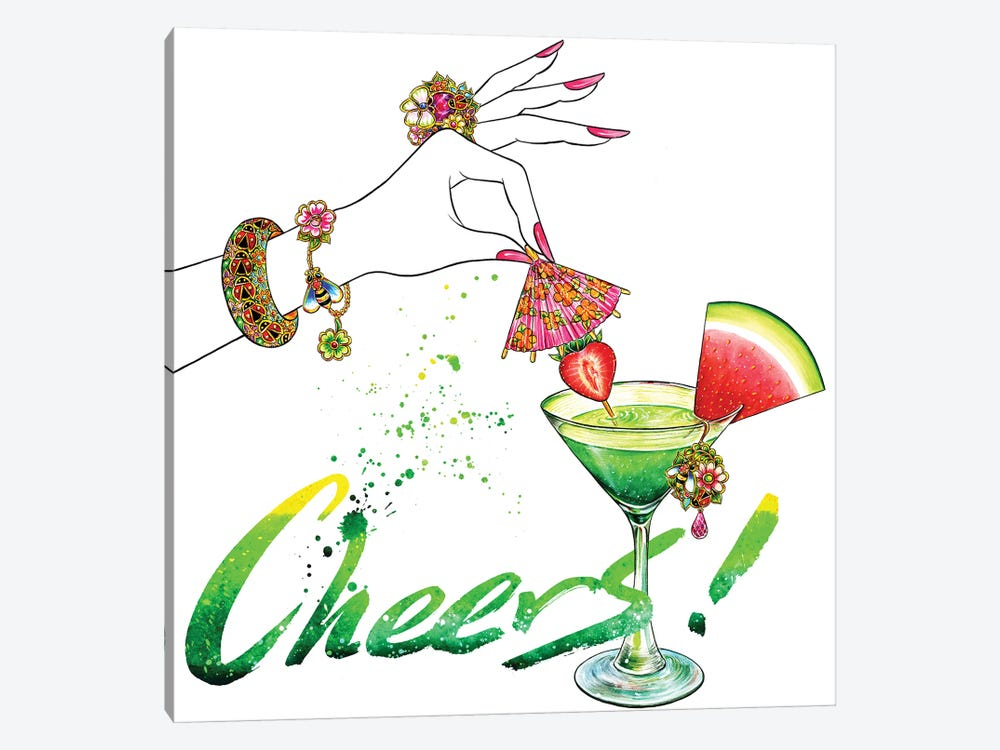 Pink Umbrella, Cheers by Sunny Gu 1-piece Canvas Art Print