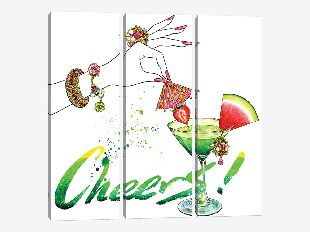 Pink Umbrella, Cheers by Sunny Gu 3-piece Canvas Art Print