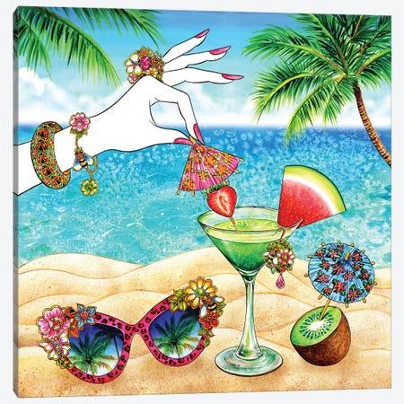 Pink Umbrella, Tropical 3-Piece Canvas #SUN34} by Sunny Gu Canvas Wall Art
