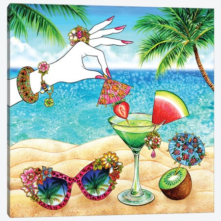 Pink Umbrella, Tropical Canvas Print #SUN34} by Sunny Gu Canvas Wall Art