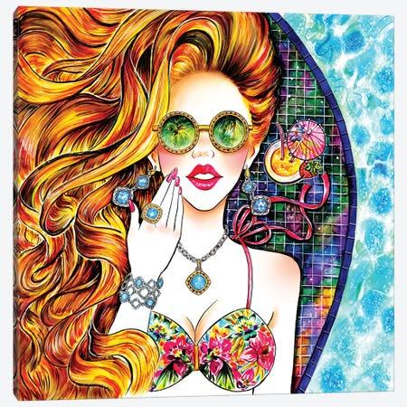 Poolside Bronze Canvas Print #SUN35} by Sunny Gu Canvas Wall Art