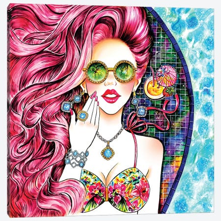 Poolside Pink Canvas Print #SUN36} by Sunny Gu Canvas Artwork