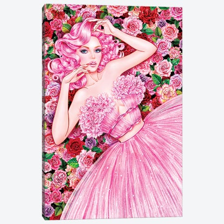 Rose Girl Canvas Print #SUN37} by Sunny Gu Canvas Wall Art