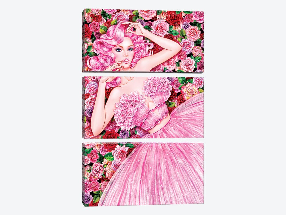 Rose Girl by Sunny Gu 3-piece Art Print