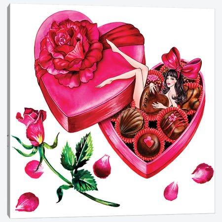 Valentine's Day Chocolate Canvas Print #SUN43} by Sunny Gu Canvas Wall Art