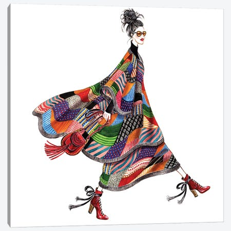 Chloe Patchwork Poncho Cape Cozy Chic Canvas Print #SUN46} by Sunny Gu Canvas Print