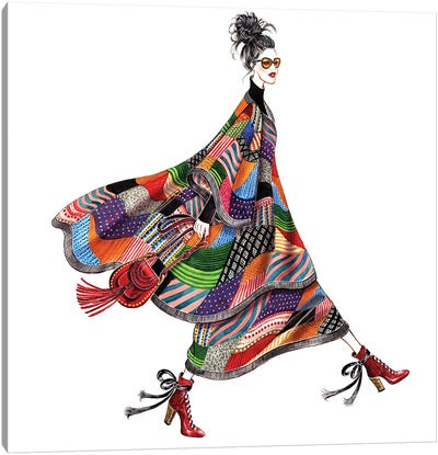 Chloe Patchwork Poncho Cape Cozy Chic Canvas Art Print
