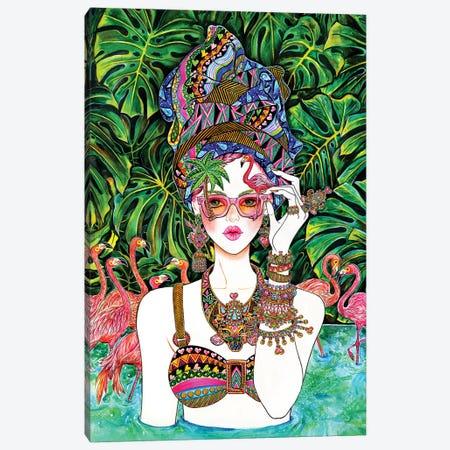 Flamingo Pink Canvas Print #SUN47} by Sunny Gu Art Print