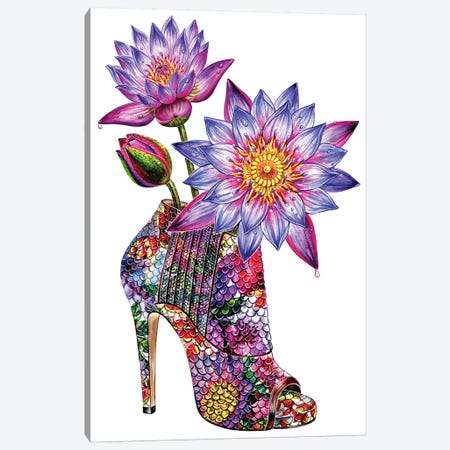 Lotus Shoes 3-Piece Canvas #SUN52} by Sunny Gu Art Print