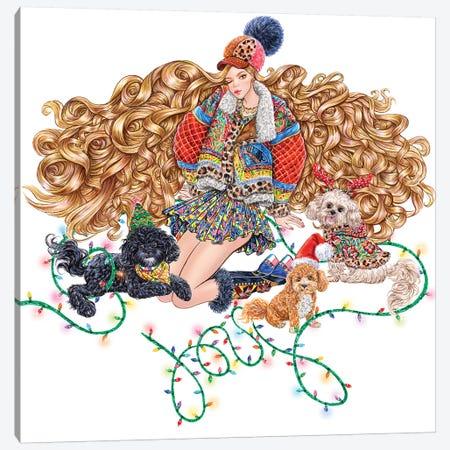 Dogs With Girl Canvas Print #SUN63} by Sunny Gu Canvas Wall Art