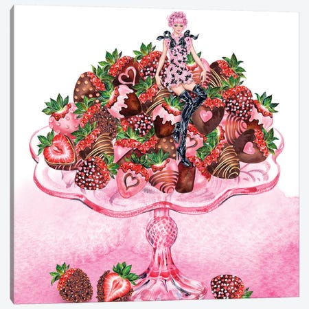Girl Strawberry Dish Canvas Print #SUN64} by Sunny Gu Canvas Art Print