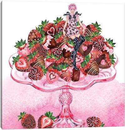 Girl Strawberry Dish Canvas Art Print