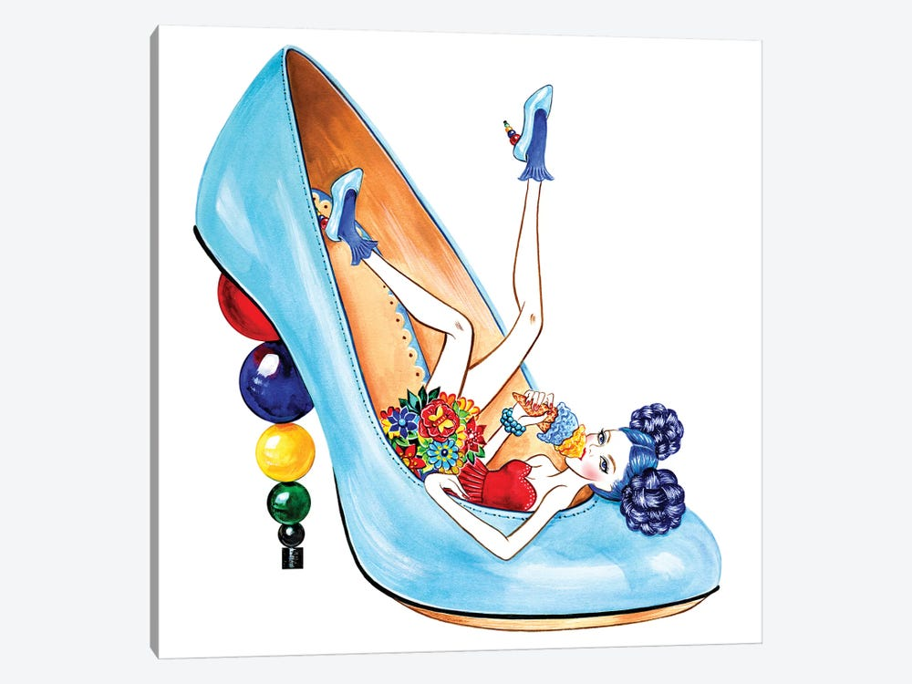 Charlotte Olympia Mid-Century Heels by Sunny Gu 1-piece Canvas Print