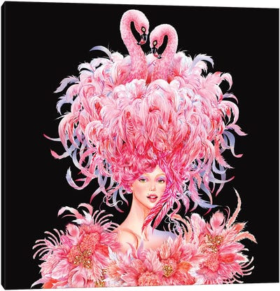 Flamingo Girl Canvas Art Print