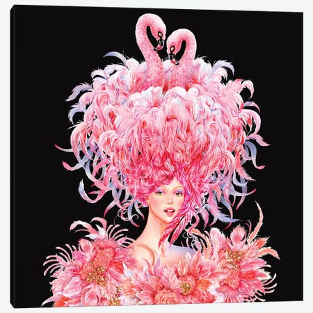 Flamingo Girl Canvas Print #SUN83} by Sunny Gu Canvas Artwork
