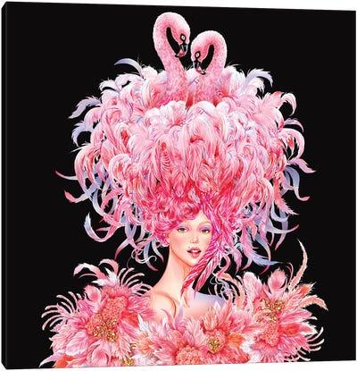 Flamingo Girl Canvas Art Print