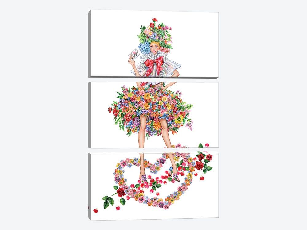Floral Girl I by Sunny Gu 3-piece Canvas Art Print