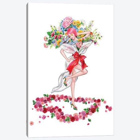 Floral Girl II Canvas Print #SUN85} by Sunny Gu Canvas Print
