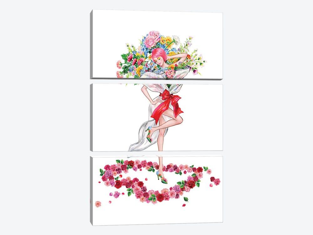 Floral Girl II by Sunny Gu 3-piece Canvas Wall Art