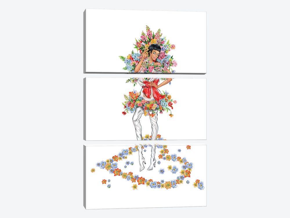 Floral Girl III by Sunny Gu 3-piece Canvas Art Print