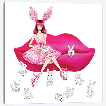 Lingerie Lover Pink Canvas Print #SUN88} by Sunny Gu Canvas Artwork