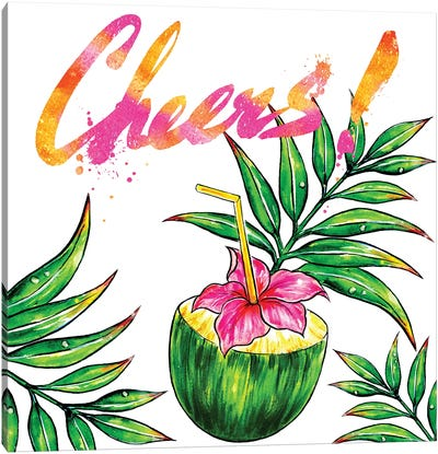 Coconut Drink Cheers Canvas Art Print