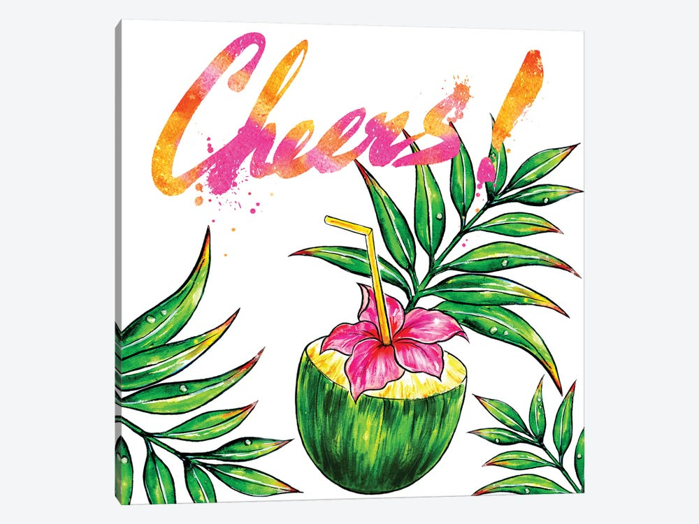 Coconut Drink Cheers 1-piece Canvas Art