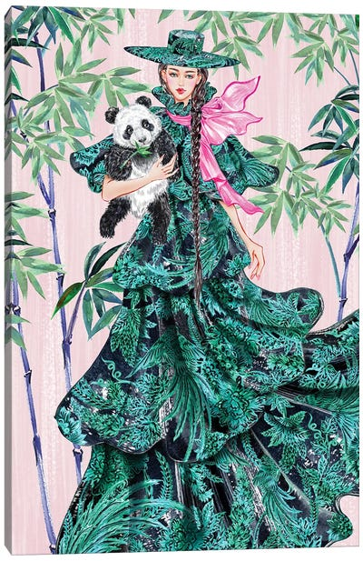 Green Hat Girl Canvas Art Print