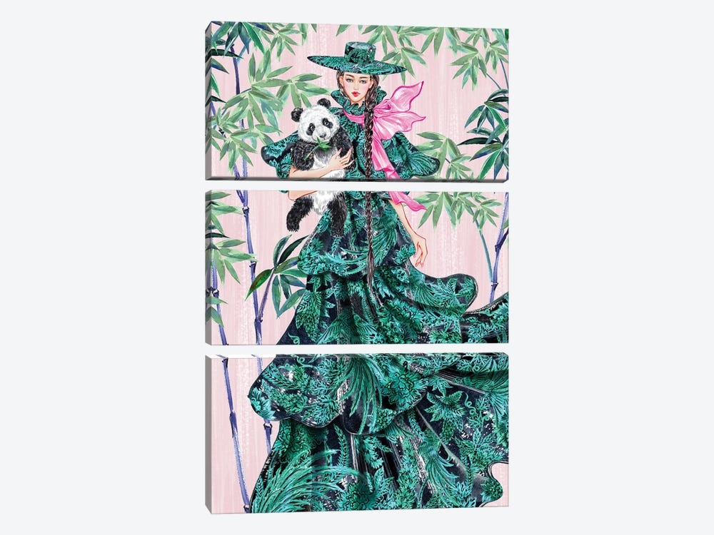 Green Hat Girl by Sunny Gu 3-piece Canvas Artwork