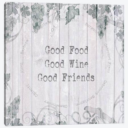 Good Food, Wine, Friends Canvas Print #SUS221} by Susan Jill Art Print