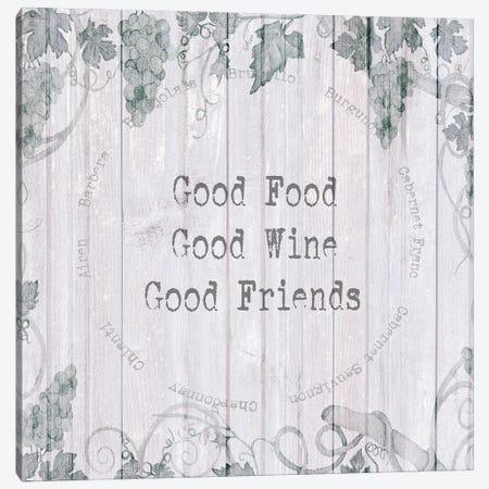 Good Food, Wine, Friends Canvas Print #SUS221} by Susan Jill Art Print