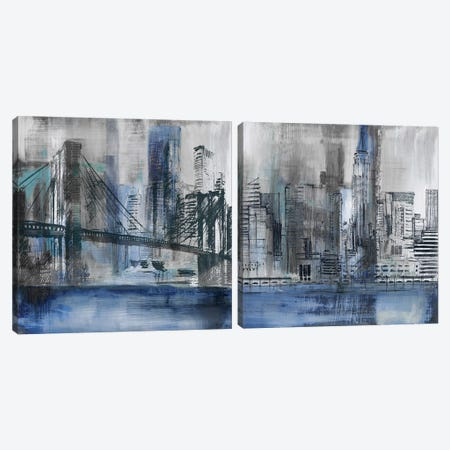 Brooklyn Bridge Diptych Canvas Print Set #SUS2HSET003} by Susan Jill Canvas Art Print