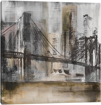 Brooklyn Bridge Twilight Canvas Art Print